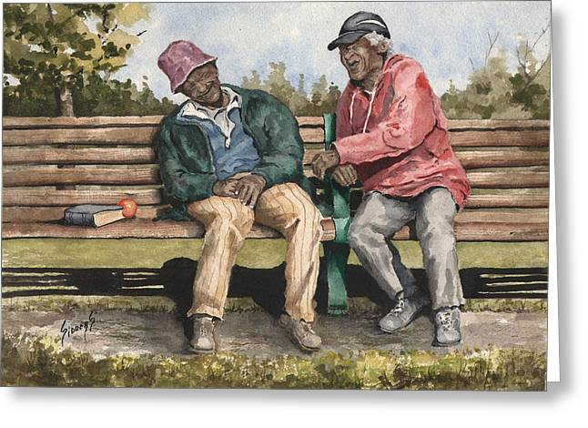 Park Benches Paintings Greeting Cards - Remembering The Good Times Greeting Card by Sam Sidders
