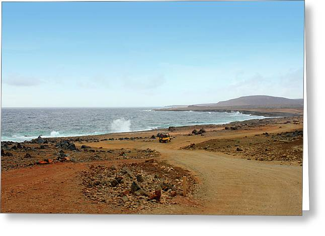Remote Beach And Waves Off Coast Of Aruba Greeting Card by Design Turnpike