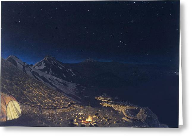 Night Time Pastels Greeting Cards - Remote Campsite Greeting Card by John  Baehr