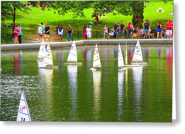 Toy Boat Greeting Cards - Remote Controlled Toy Sail Boats at Central Park New York USA America photo by NavinJoshi FineArtAme Greeting Card by Navin Joshi