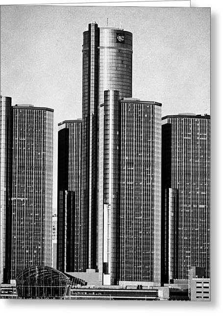 Ren Cen Greeting Cards - Renaissance Center - Black and White Greeting Card by Alanna Pfeffer