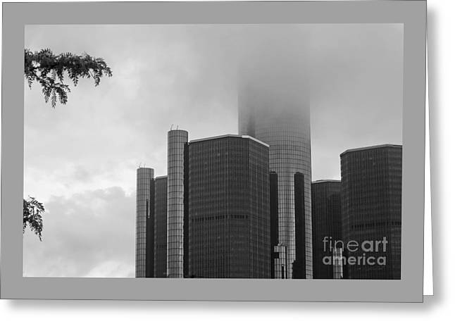 Renaissance Center Greeting Cards - Renaissance Center in Clouds - bw Greeting Card by Ann Horn
