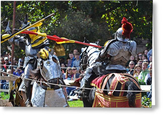 Knight In Shining Armor Greeting Cards - Renaissance Festival-Joust Greeting Card by Sydney Thompson
