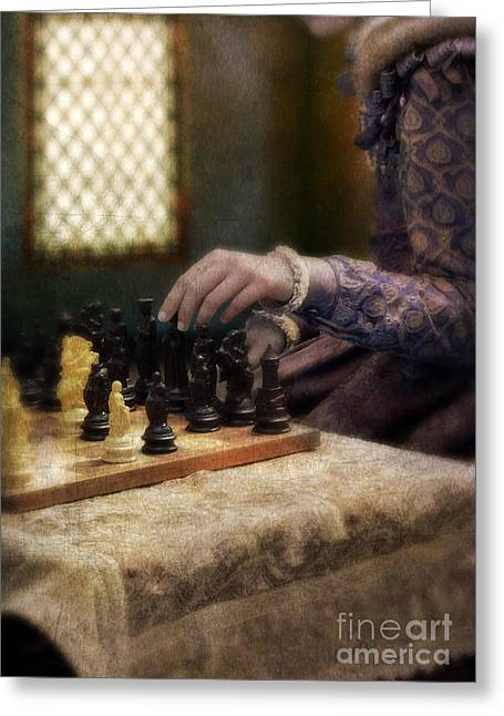 Chess Piece Greeting Cards - Renaissance Lady Playing Chess Greeting Card by Jill Battaglia