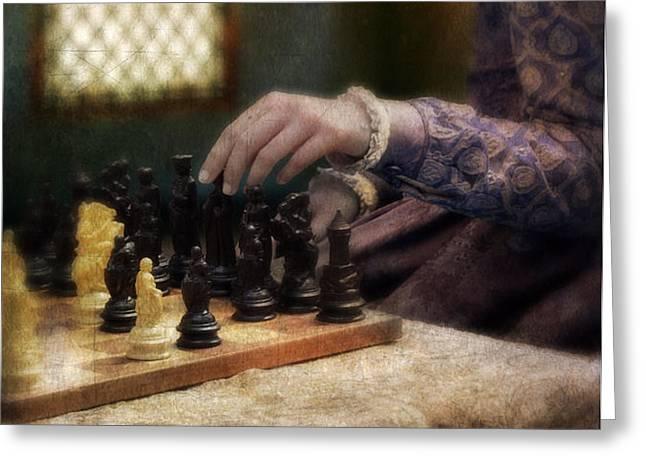 Renaissance Lady Playing Chess Greeting Card by Jill Battaglia