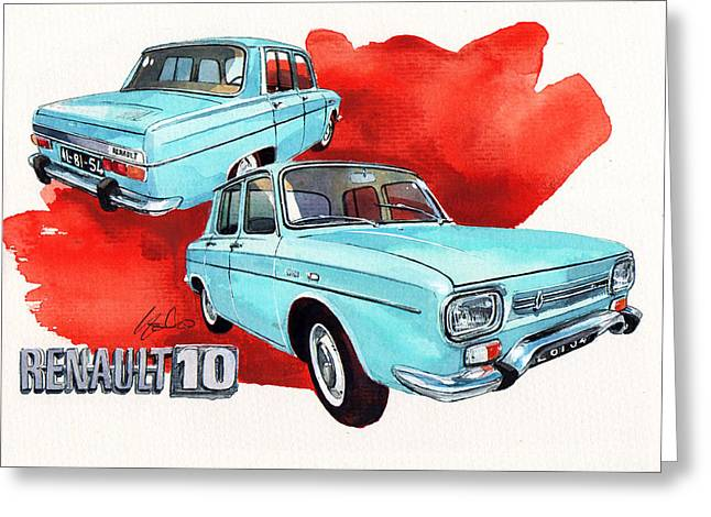Family Car Greeting Cards - Renault 10 Greeting Card by Yoshiharu Miyakawa