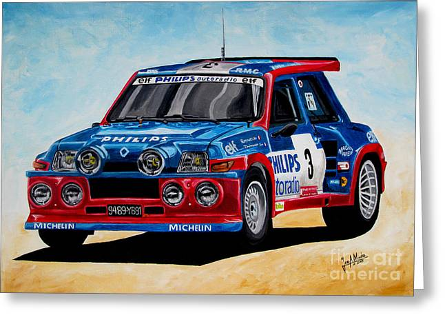 Rally Greeting Cards - Renault 5 Maxiturbo Greeting Card by Jose Mendez