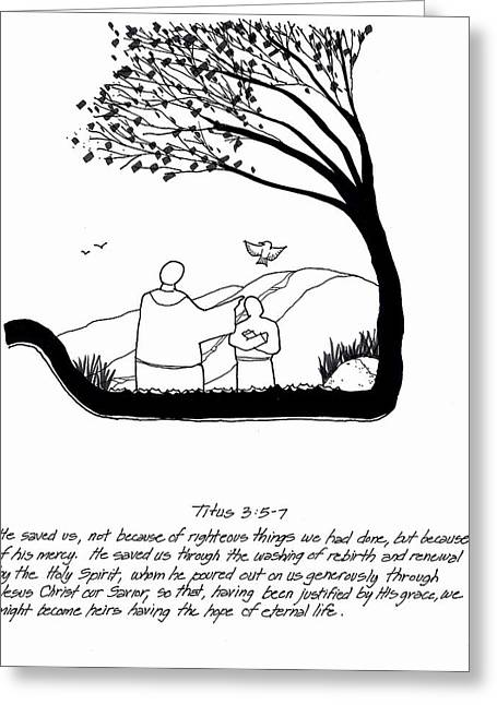 Born Again Drawings Greeting Cards - Renewal Greeting Card by Rich Brumfield