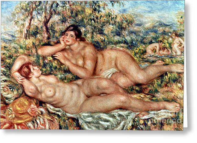 Baigneuse Greeting Cards - RENOIR: BATHERS, c1918-19 Greeting Card by Granger