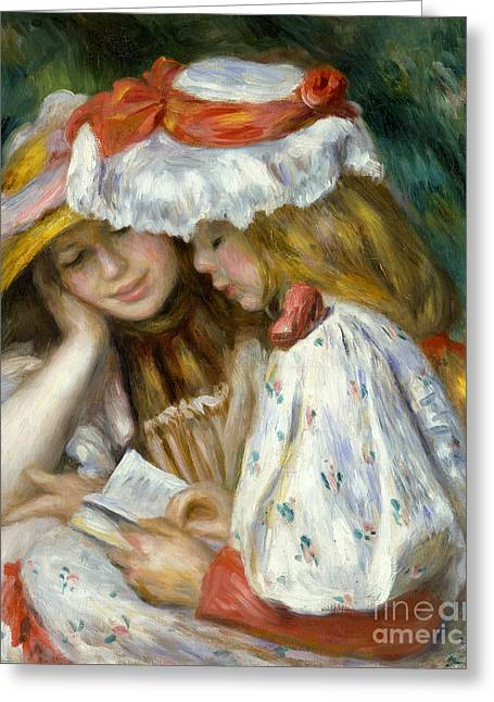 Puffed Sleeves Greeting Cards - Renoir: Two Girls Reading Greeting Card by Granger
