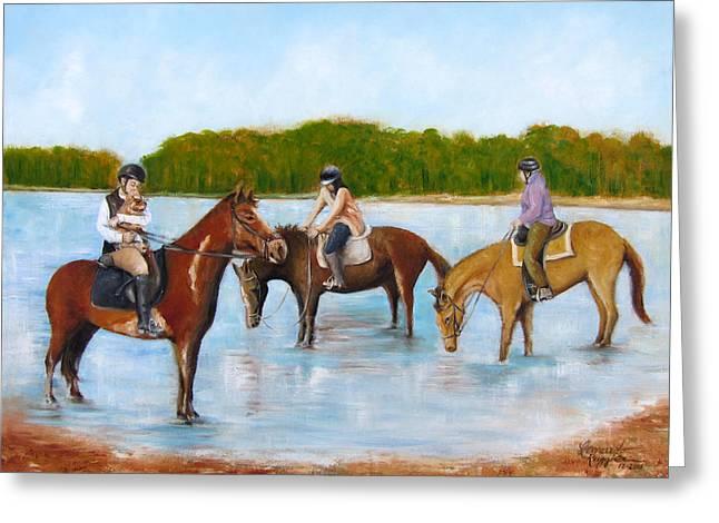 Dog In Lake Greeting Cards - Renzo Horseback Riding in Marlu Lake Greeting Card by Leonardo Ruggieri