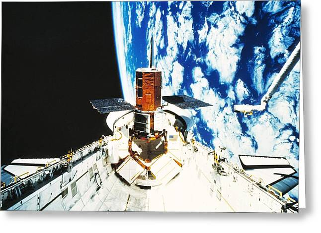 Repaired Solar Maximum Misson Onboard Greeting Card by NASA / Science Source