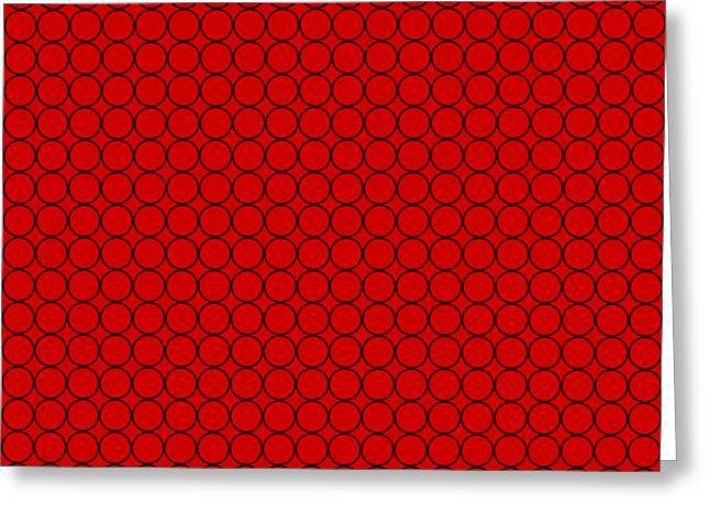 Repeatable Small Circle Design On Red Greeting Card by Greg Noblin