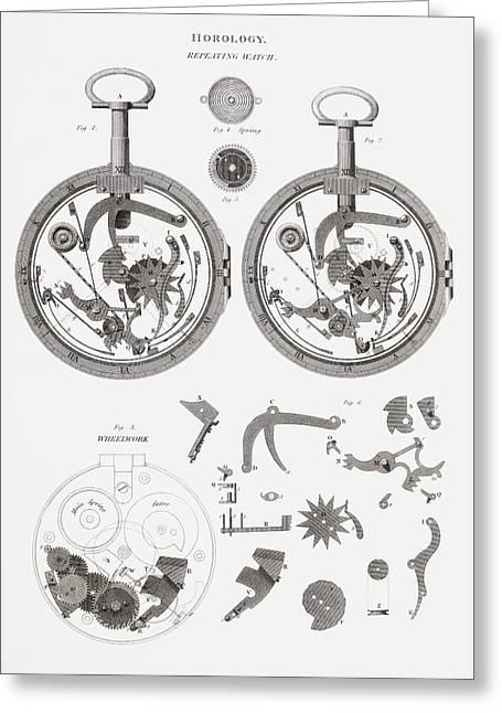 Mechanism Drawings Greeting Cards - Repeating Watch. From The Cyclopaedia Greeting Card by Vintage Design Pics