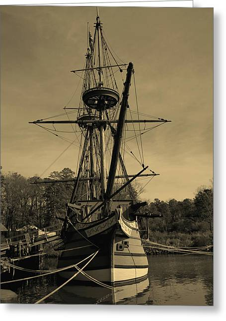 Sailing Ship Greeting Cards - Replica Old Sailing Ship Sepia Greeting Card by Larry Weingartner