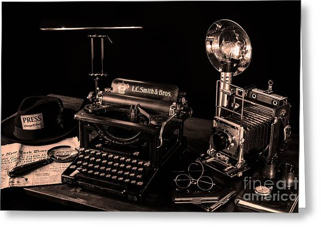 Chicago Typewriter Greeting Cards - Reporters Desk II Greeting Card by William Doree