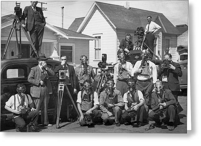 Reporters With Gas Masks Greeting Card by Underwood Archives