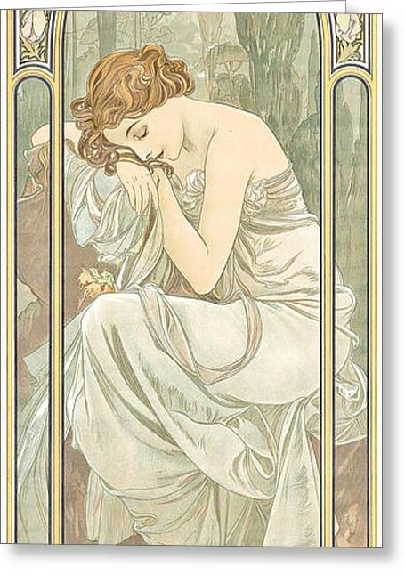 Figure Pose Greeting Cards - Repos de la Nuit Greeting Card by Alphonse Marie Mucha