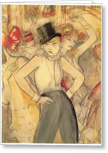 Lesbianism Greeting Cards - Representing Greeting Card by Jeanne Mammen
