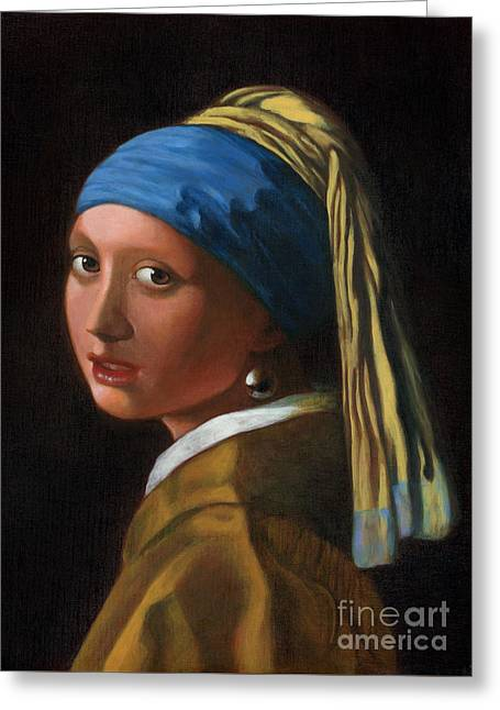 Gold Earrings Greeting Cards - Reproduction - Johannes Vermeer - Girl with a Pearl Earring Greeting Card by Brandy Woods