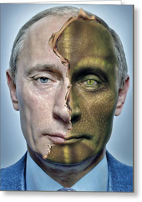 Photo Collage Greeting Cards - Reptilian Putin Greeting Card by Marian Voicu