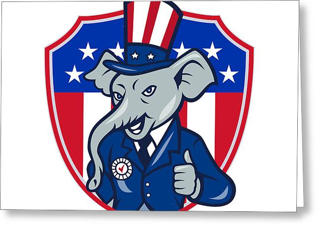 Republican Greeting Cards - Republican Elephant Mascot Thumbs Up USA Flag Cartoon Greeting Card by Aloysius Patrimonio