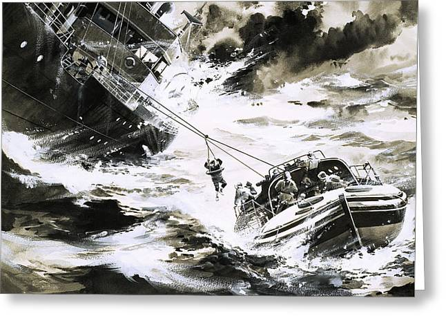 Rescue At Sea Greeting Card by Wilf Hardy