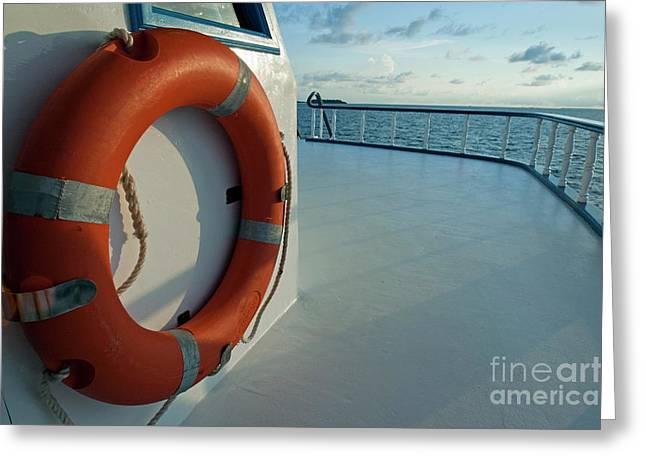Rescue Buoy On A Boat Middle Deck Greeting Card by Sami Sarkis