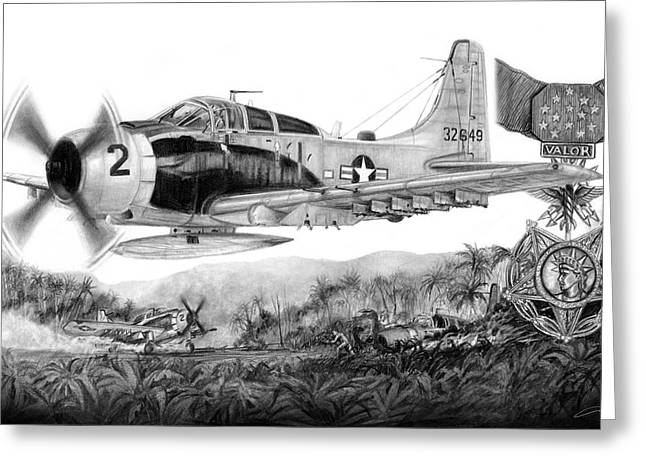 Bravery Drawings Greeting Cards - Rescue at A Shau Greeting Card by Dale Jackson