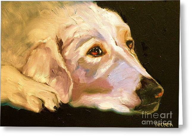 Retriever Prints Greeting Cards - Rescued Golden Greeting Card by Susan A Becker