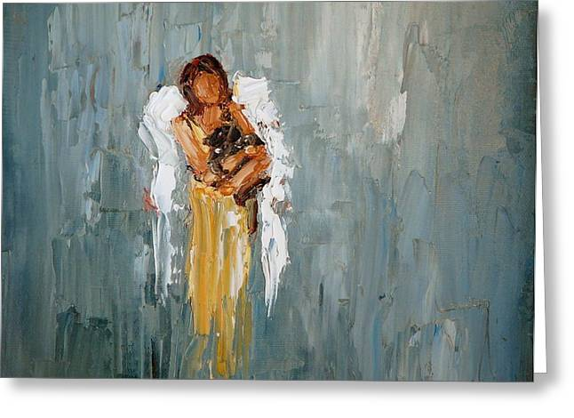 Pet Angels Greeting Cards - Rescued Greeting Card by Judy Mackey