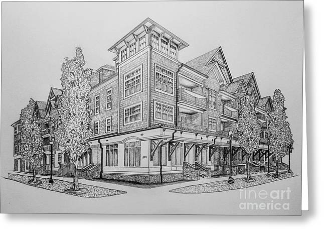 Residential Drawings Greeting Cards - Residential Rendering 2035 Greeting Card by Robert Yaeger