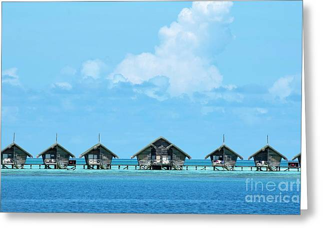Tranquil Scene Escapism Greeting Cards - Resort bungalows over sea Greeting Card by Sami Sarkis