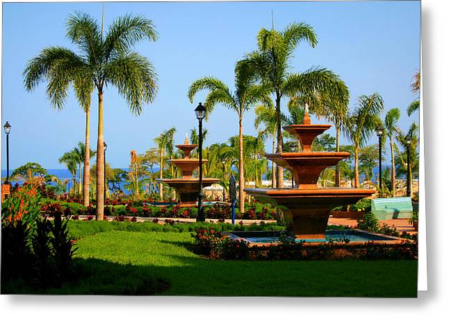 Best Ocean Photography Greeting Cards - Resort Fountains Greeting Card by Perry Webster