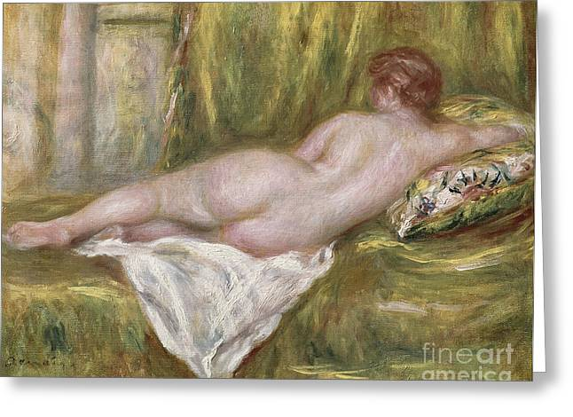 Nude Female Greeting Cards - Rest after the Bath Greeting Card by Pierre Auguste Renoir
