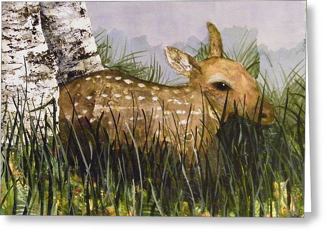 Fawn Mixed Media Greeting Cards - Rest Time Greeting Card by Terry Honstead