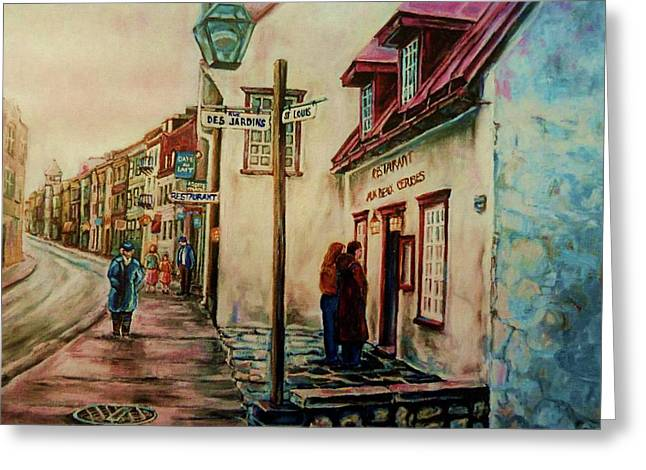 Out-of-date Greeting Cards - Restaurant Aux Anciens Canadiens Quebec City Greeting Card by Carole Spandau