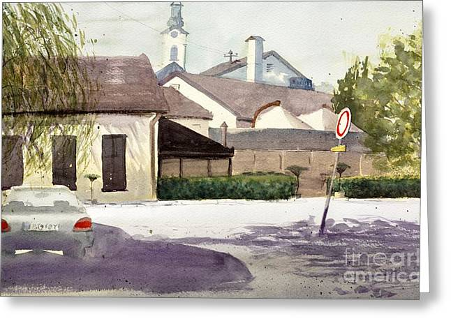 Popular Art Greeting Cards - Restaurant Carp Zemun Serbia - original watercolor art by Nenad Kojic Greeting Card by Nenad Kojic