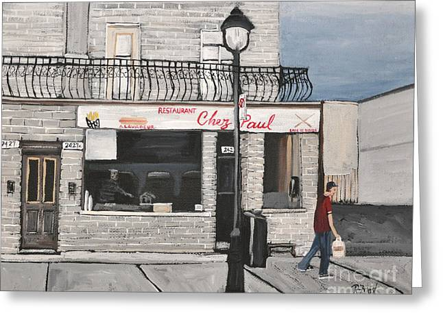 Montreal Restaurants Greeting Cards - Restaurant Chez Paul Pointe St. Charles Greeting Card by Reb Frost