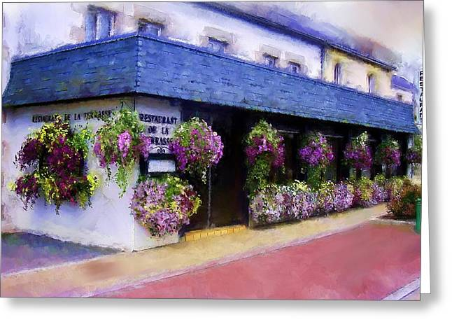 Menu Illustrations Greeting Cards - Restaurant de la Terrasse Greeting Card by Michael Greenaway