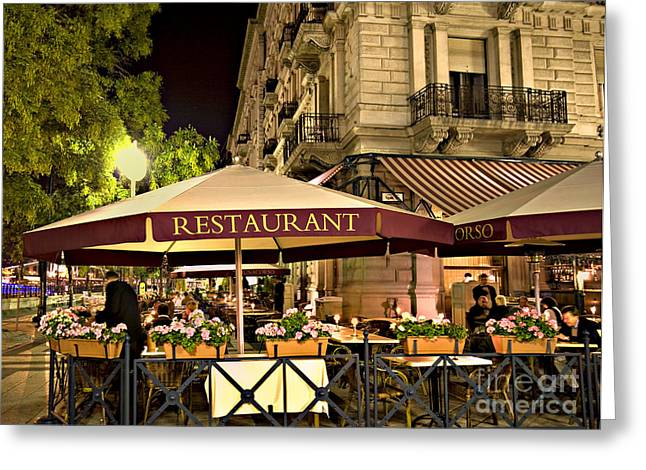 Restaurant In Budapest Greeting Card by Madeline Ellis