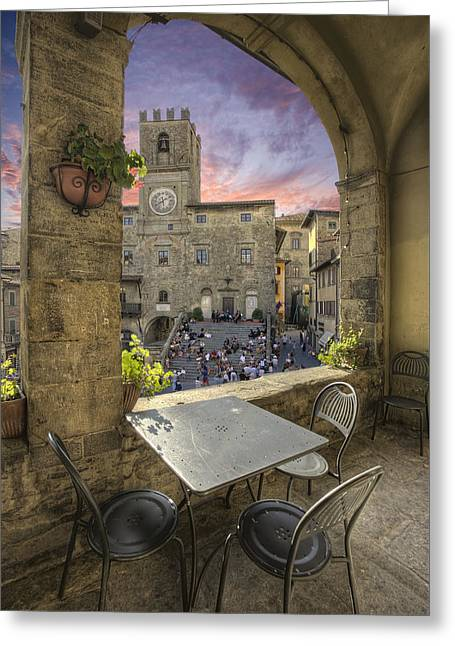 Italian Restaurant Greeting Cards - Restaurant in Tuscany Greeting Card by Al Hurley