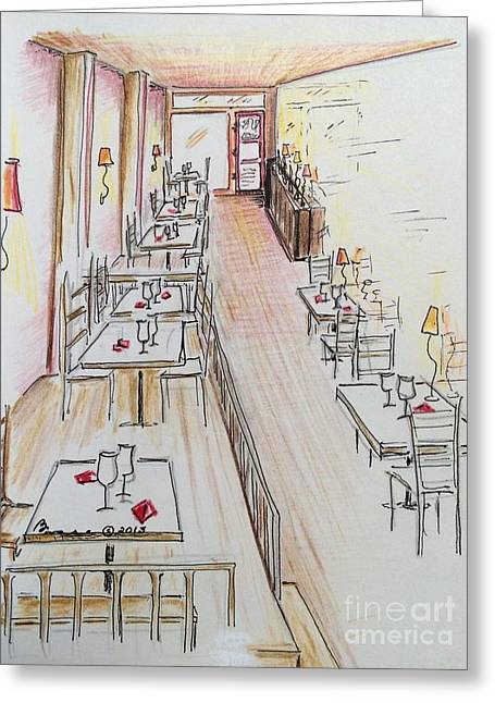 Empty Chairs Drawings Greeting Cards - Restaurant in Waiting Greeting Card by Barbara Chase