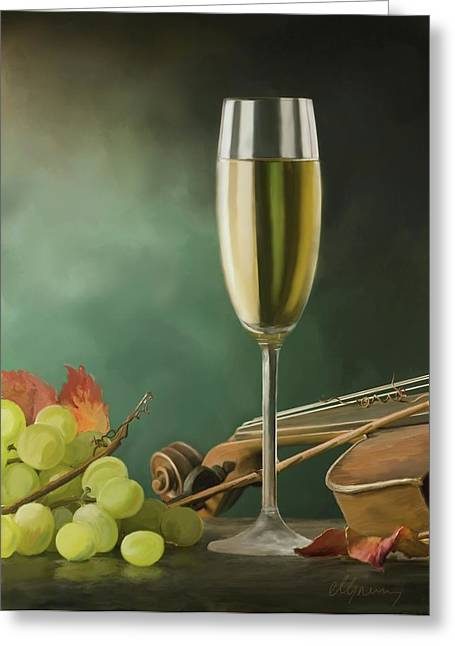 Fruit And Wine Digital Greeting Cards - Restaurant menu paintings Greeting Card by Michael Greenaway