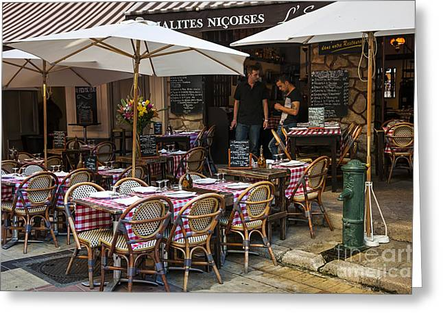 European City Greeting Cards - Restaurant on Rue Pairoliere in Nice Greeting Card by Elena Elisseeva