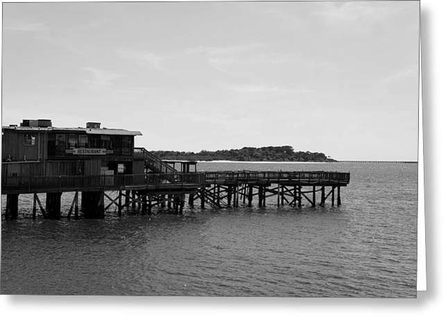 Cedar Key Greeting Cards - Restaurant on the Water Greeting Card by Laurie Perry