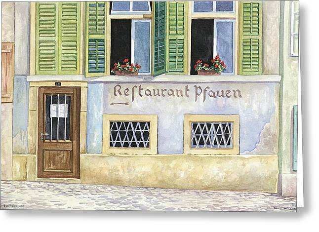 Restaurant Pfauen Greeting Card by Scott Nelson