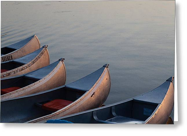 Canoe Greeting Cards - Resting Canoes Greeting Card by Charles Turnell