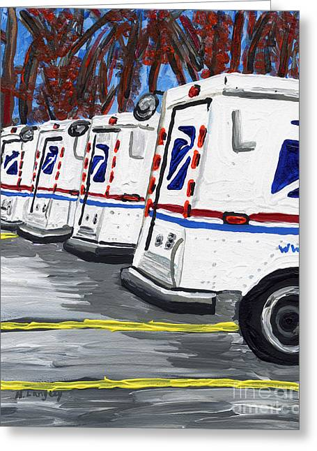 Postal Paintings Greeting Cards - Resting Greeting Card by Helena M Langley
