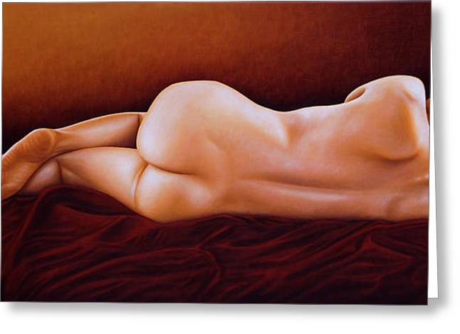 Dark Red Greeting Cards - Resting Nude Greeting Card by Horacio Cardozo